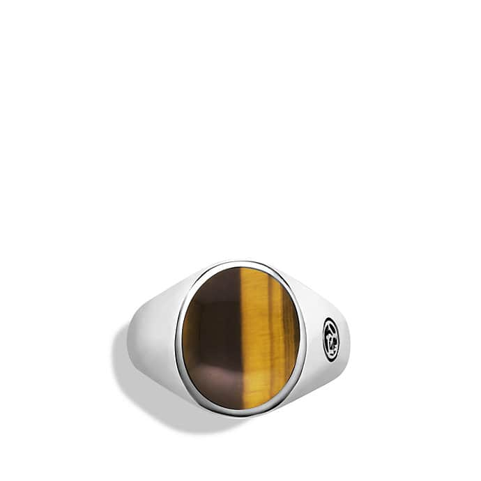 Exotic Stone Signet Pinky Ring with Tiger's Eye