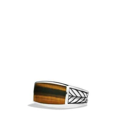 Exotic Stone Narrow Ring with Tiger's Eye