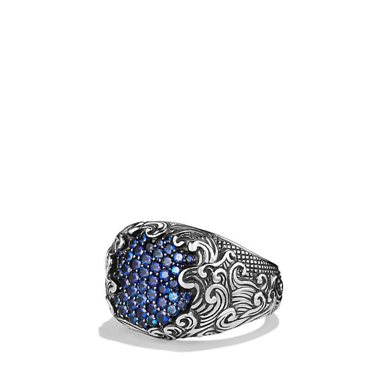 Waves Signet Ring with Sapphires