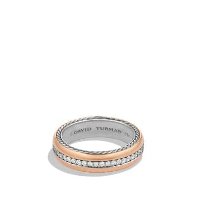 Streamline Narrow Band Ring with Diamonds and Rose Gold
