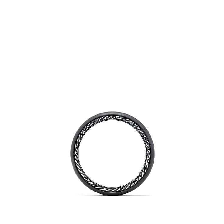 Streamline Narrow Band Ring with Diamonds and Black Titanium