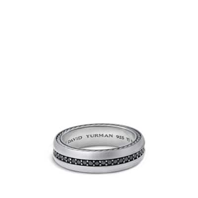 Streamline Narrow Band Ring with Black Diamonds