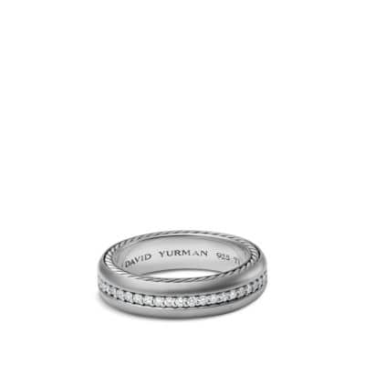 Streamline Narrow Band Ring with Diamonds and Gray Titanium, 6mm