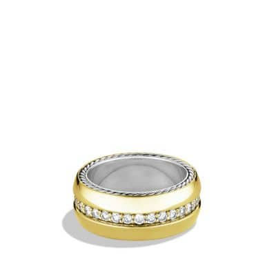 Streamline Wide Ring with Diamonds and Gold