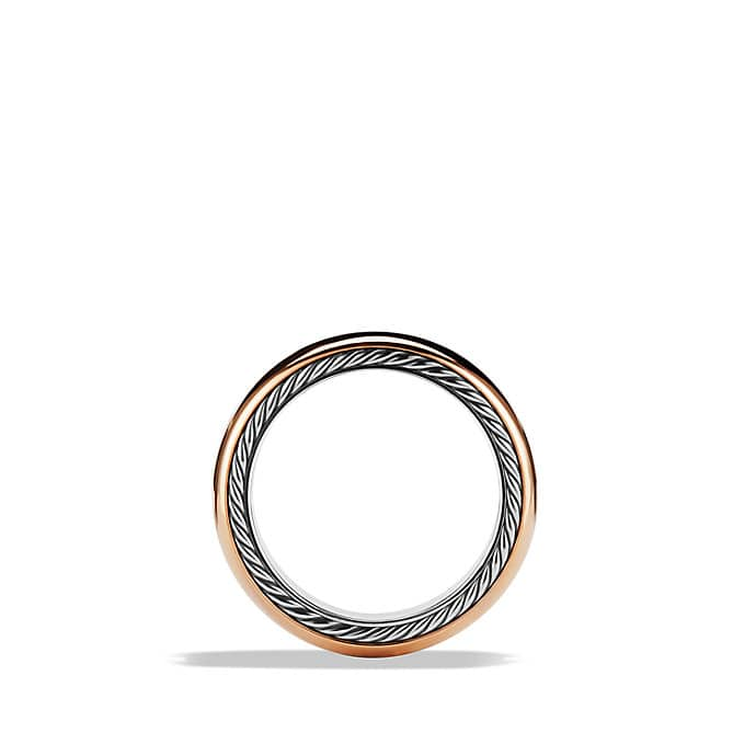 Streamline Wide Band Ring with Diamonds and Rose Gold