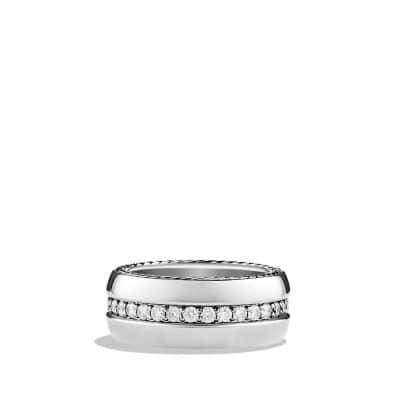 Streamline Wide Band Ring with Diamonds