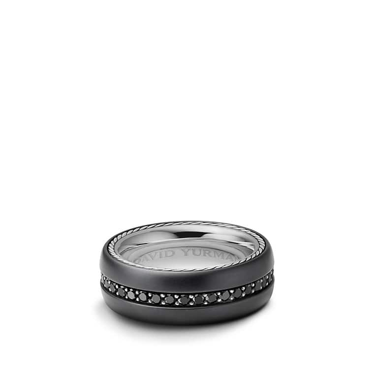 Streamline Wide Band Ring with Black Diamonds and Black Titanium
