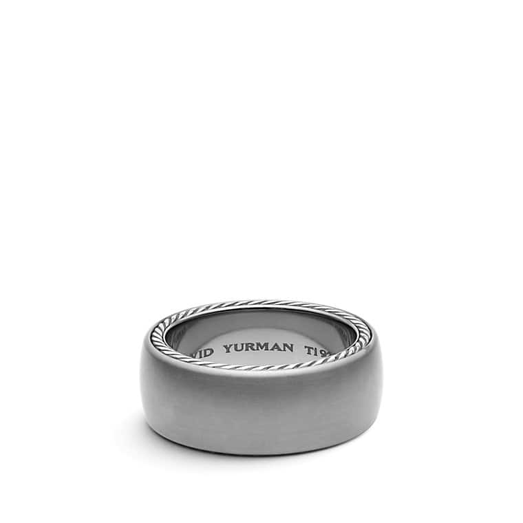 Streamline Wide Band Ring in Gray Titanium