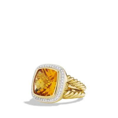 Albion Ring with Citrine and Diamonds in Gold
