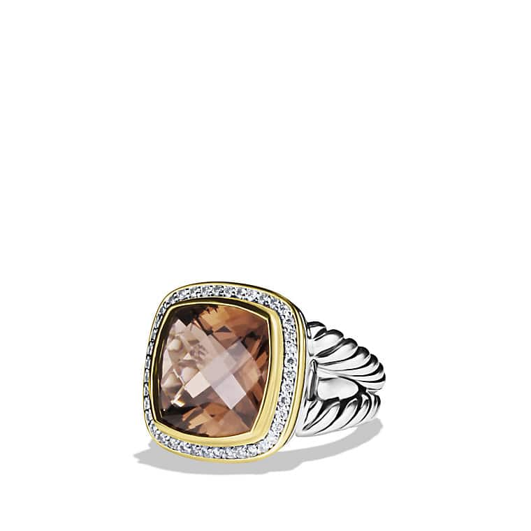 Albion Ring with Smoky Quartz, Diamonds, and Gold