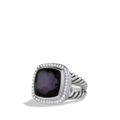 Albion Ring with Black Orchid and Diamonds