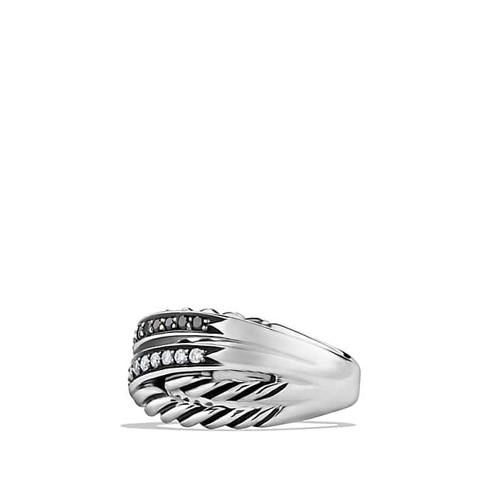 Crossover Ring with Black and White Diamonds