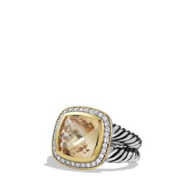 Albion Ring with Champagne Citrine and Diamonds with Gold