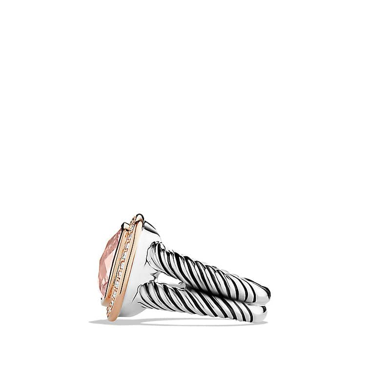 Albion Ring with Morganite, Diamonds, and Rose Gold
