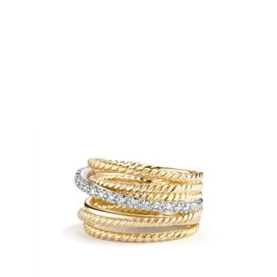 Crossover Wide Ring with Diamonds in 18K Gold thumbnail