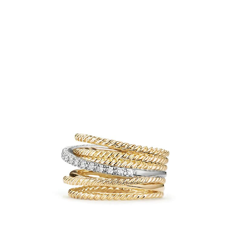 Crossover Wide Ring with Diamonds in 18K Gold