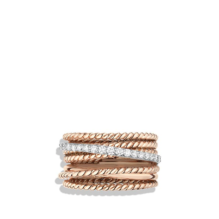 Crossover Wide Ring with Diamonds in 18K Rose Gold