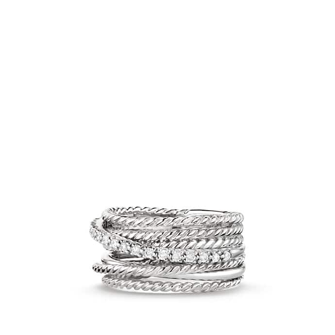 Crossover Wide Ring with Diamonds