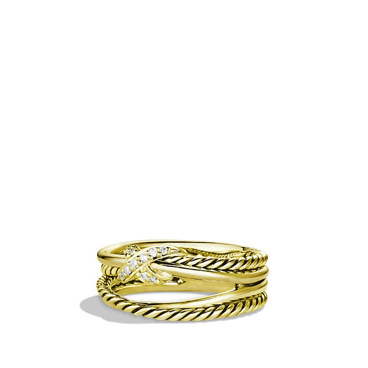 X Crossover Ring with Diamonds in 18K Gold