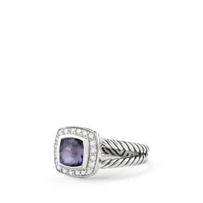 Petite Albion Ring with Black Orchid and Diamonds