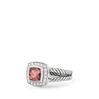 Petite Albion Ring with Pyrope Garnet and Diamonds