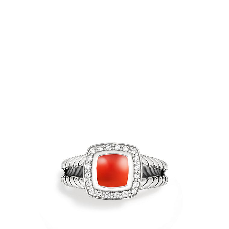 Petite Albion Ring with Carnelian and Diamonds
