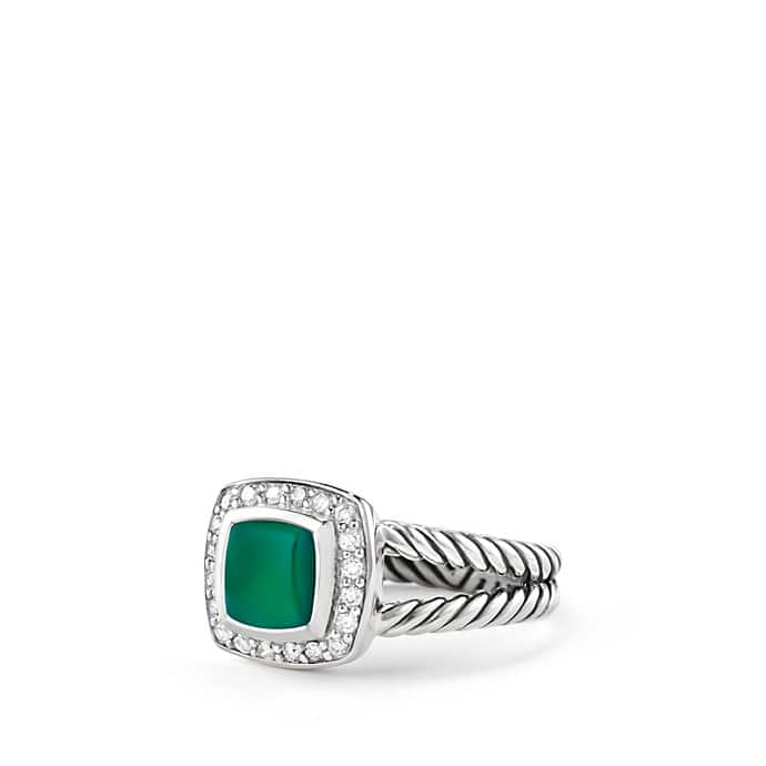 Petite Albion Ring with Green Onyx and Diamonds