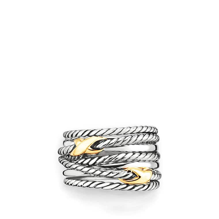 Double X Crossover Ring with Gold