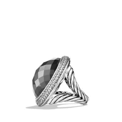 DY Signature Oval Ring with Hematine and Diamonds