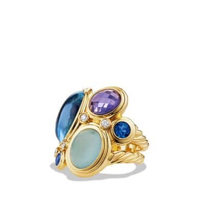 Mosaic Ring with Blue Topaz, Milky Aquamarine, and Diamonds in Gold