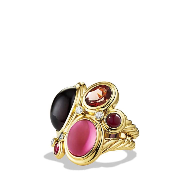 Mosaic Ring with Rhodolite Garnet, Pink Tourmaline, and Diamonds in Gold