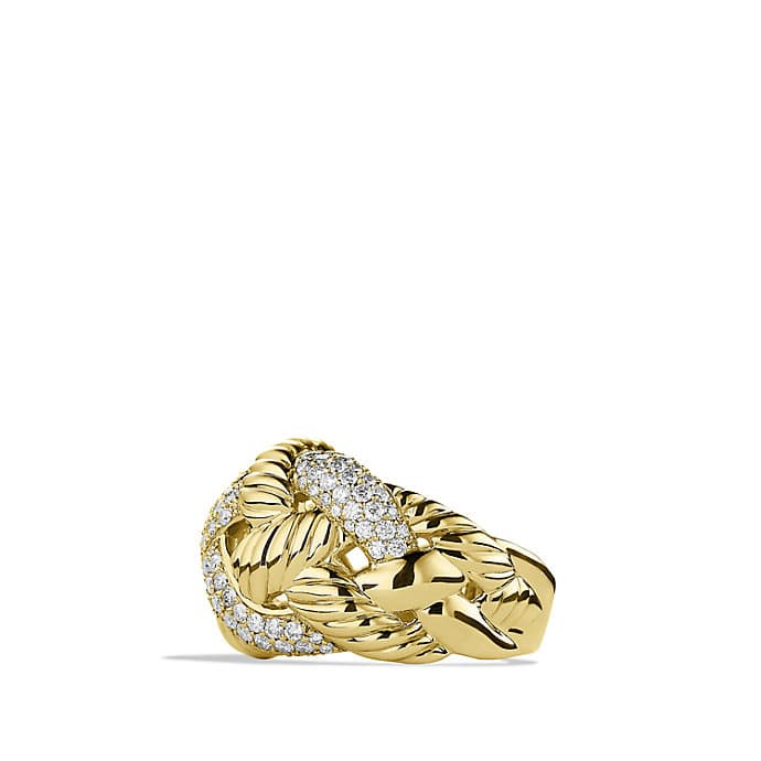 Woven Cable Wide Ring with Diamonds in Gold