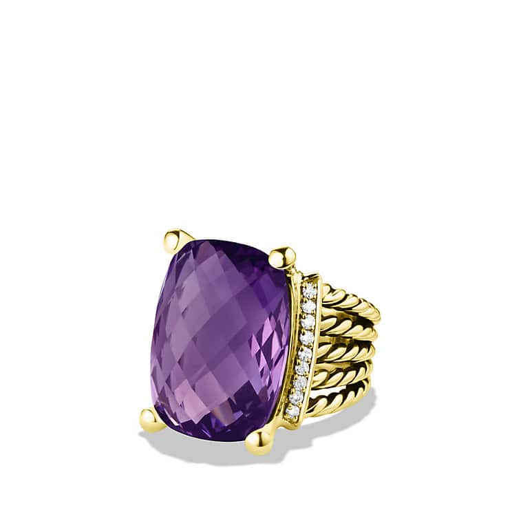 Wheaton Ring with Amethyst and Diamonds in Gold