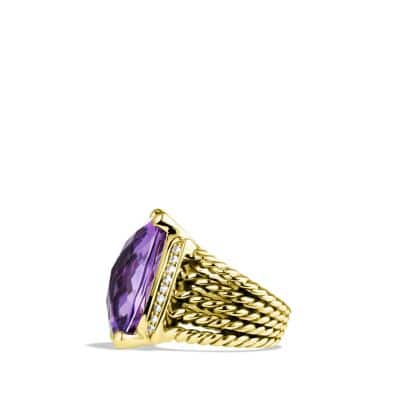 Wheaton Ring with Amethyst and Diamonds in 18K Gold