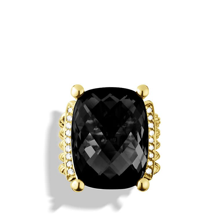 Wheaton Ring with Black Onyx and Diamonds in Gold