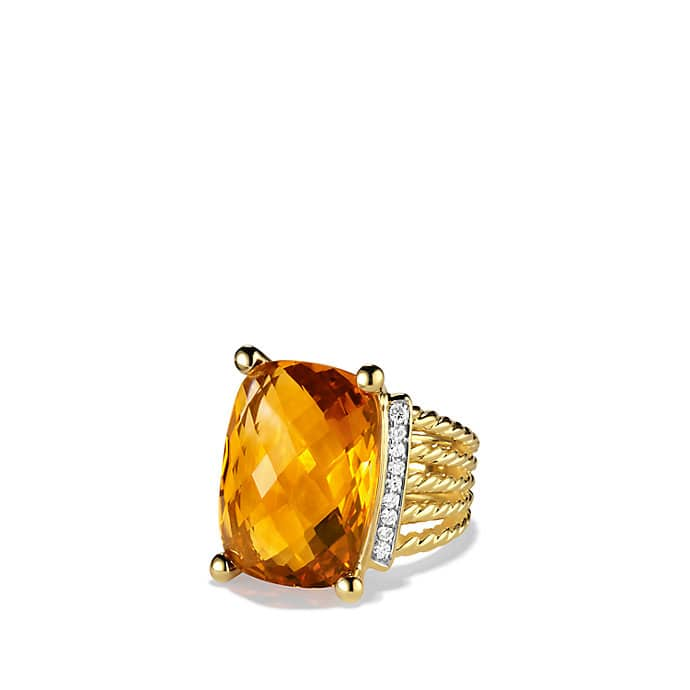 Wheaton Ring with Citrine and Diamonds in Gold