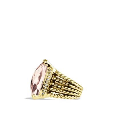 Wheaton Ring with Morganite and Diamonds in 18K Gold