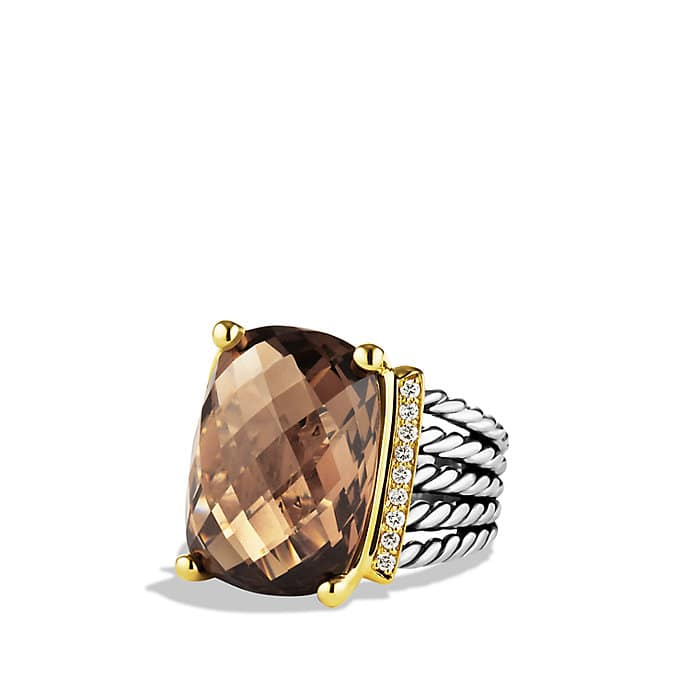 Wheaton Ring with Smoky Quartz and Diamonds and Gold