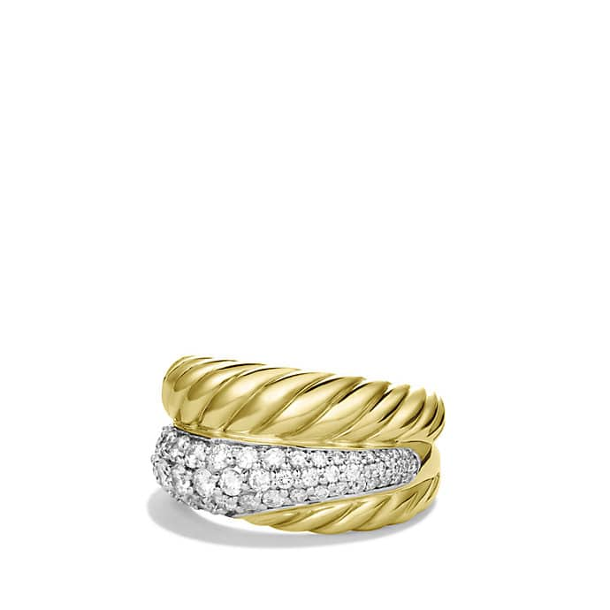 Crossover Large Ring with Diamonds in Gold