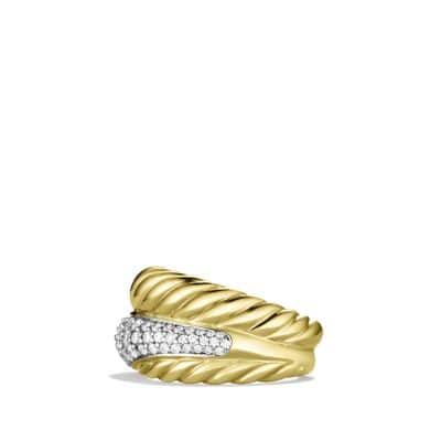 Crossover Large Ring with Diamonds in 18K Gold