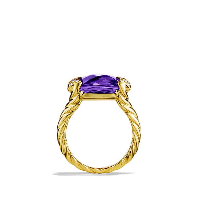 Cushion On Point Ring with Amethyst and Diamonds in Gold