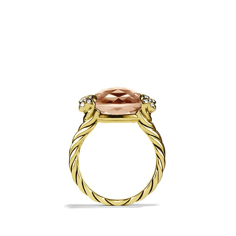 Cushion On Point Ring with Morganite and Diamonds in Gold