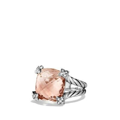 Cushion On Point Ring with Morganite and Diamonds