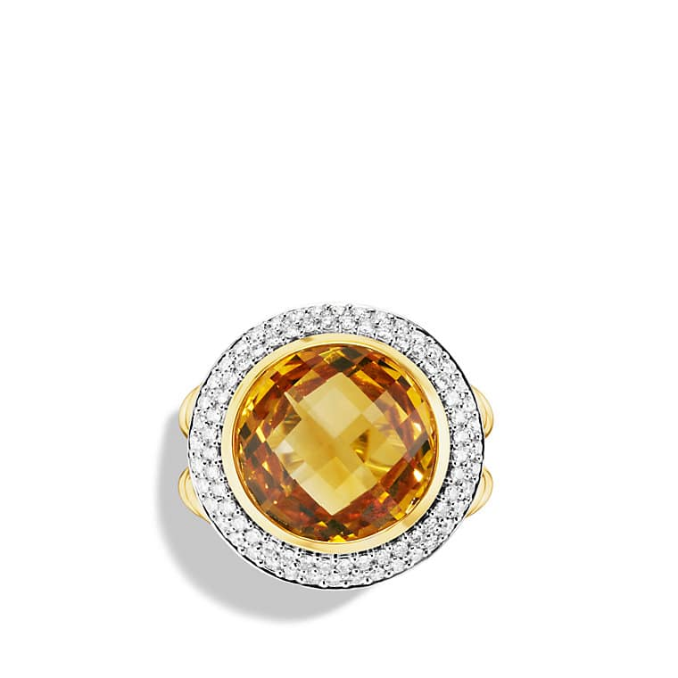 Cerise Ring with Citrine and Diamonds in Gold