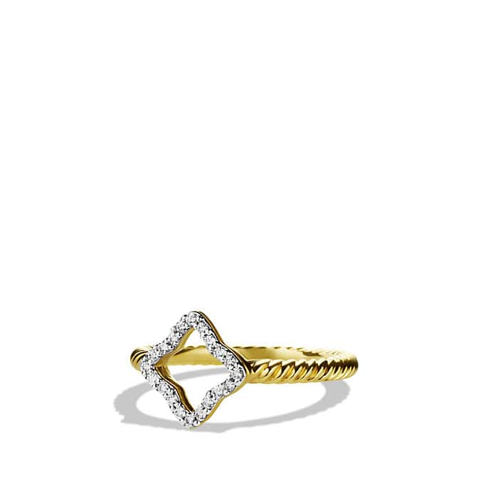 Cable Collectibles Quartrefoil Ring with Diamonds in Gold
