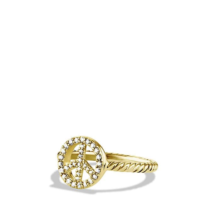 Cable Collectibles Peace Sign Ring with Diamonds in Gold