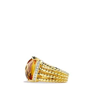 Wheaton Ring with Citrine and Diamonds in 18K Gold