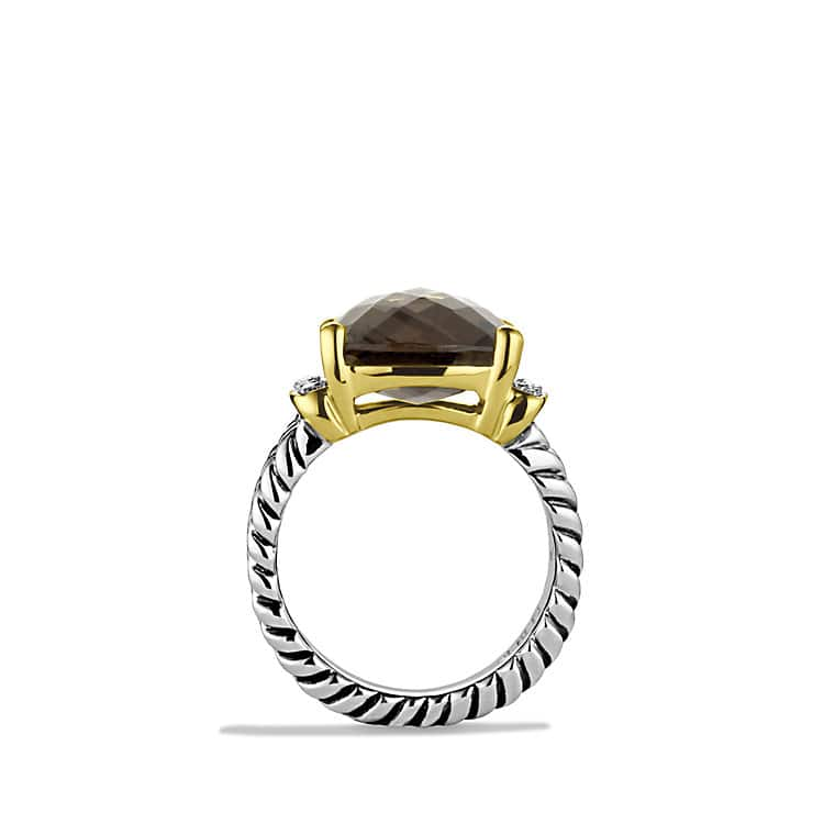 Wheaton Ring with Smoky Quartz, Diamonds, and Gold