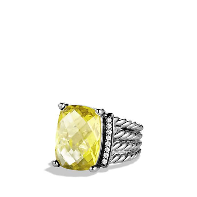 Wheaton Ring with Lemon Citrine and Diamonds