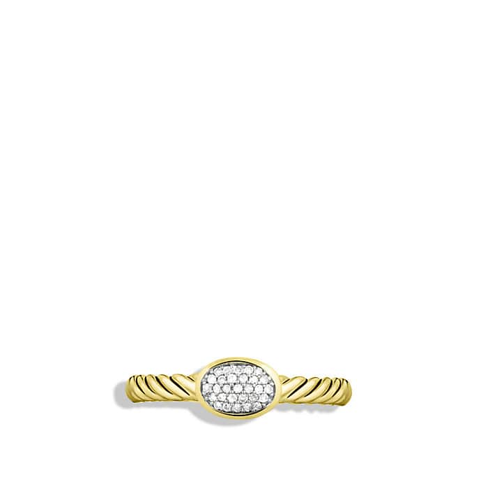Cable Collectibles Oval Ring with Diamonds in Gold